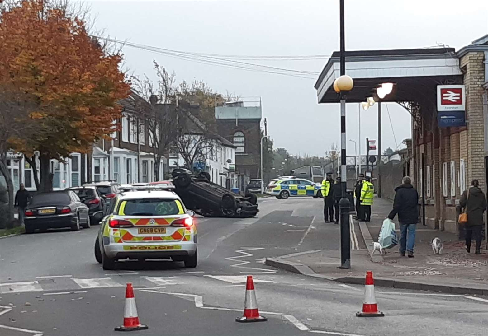A car has flipped over outside Faversham station (20989515)