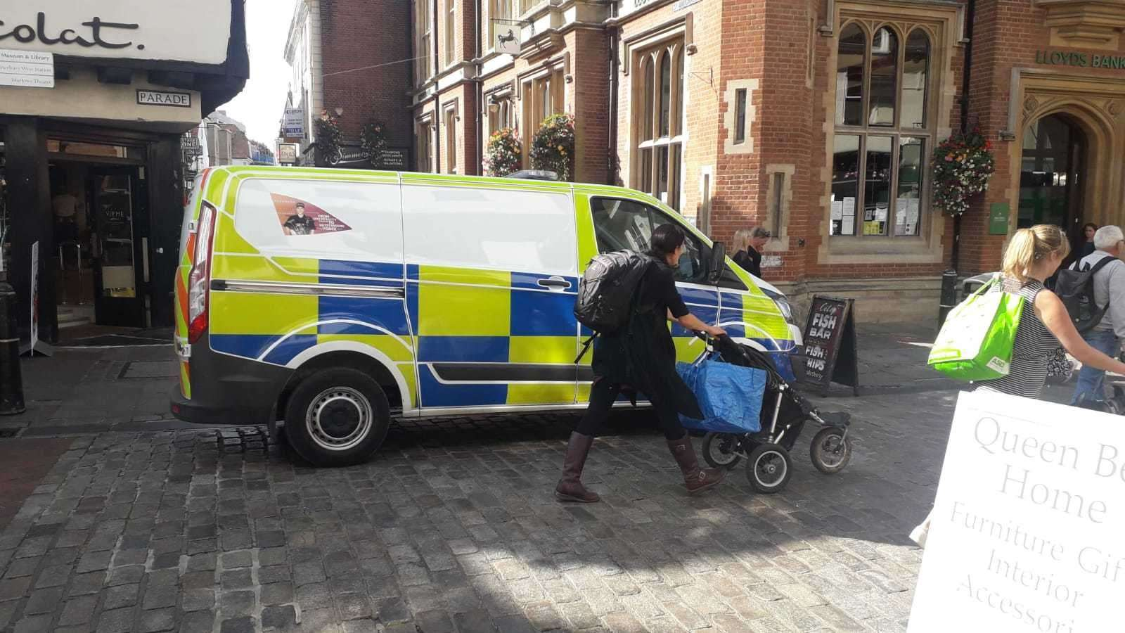 A police van could be seen parked at the junction between St Margaret's Street and High Street