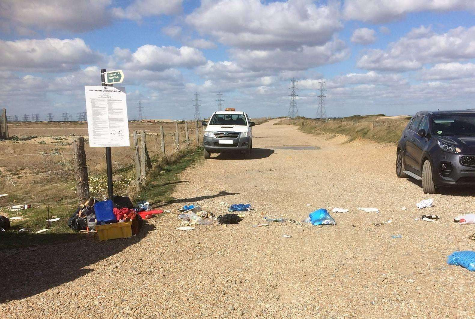 Some of the flytipping in Dengemarsh Road, Lydd. Credit: Alan Wood (4551594)