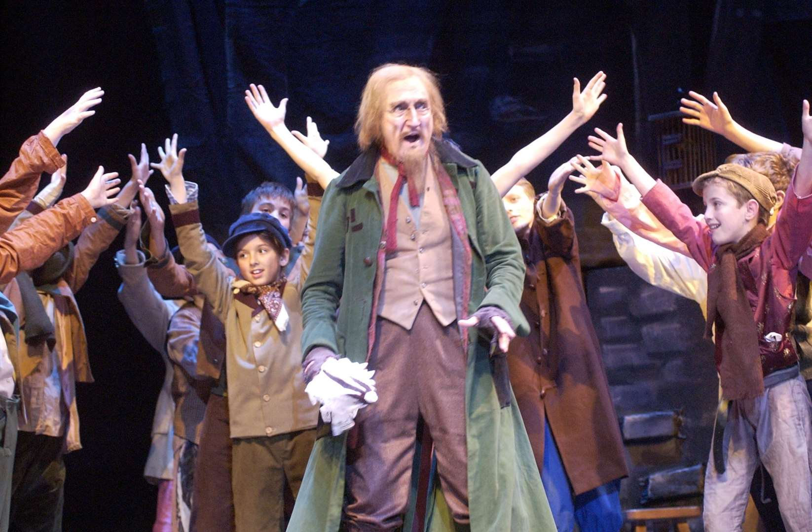 Ron Moody on stage at the Marlowe in Canterbury as Fagin in 2009. Picture Dave Downey