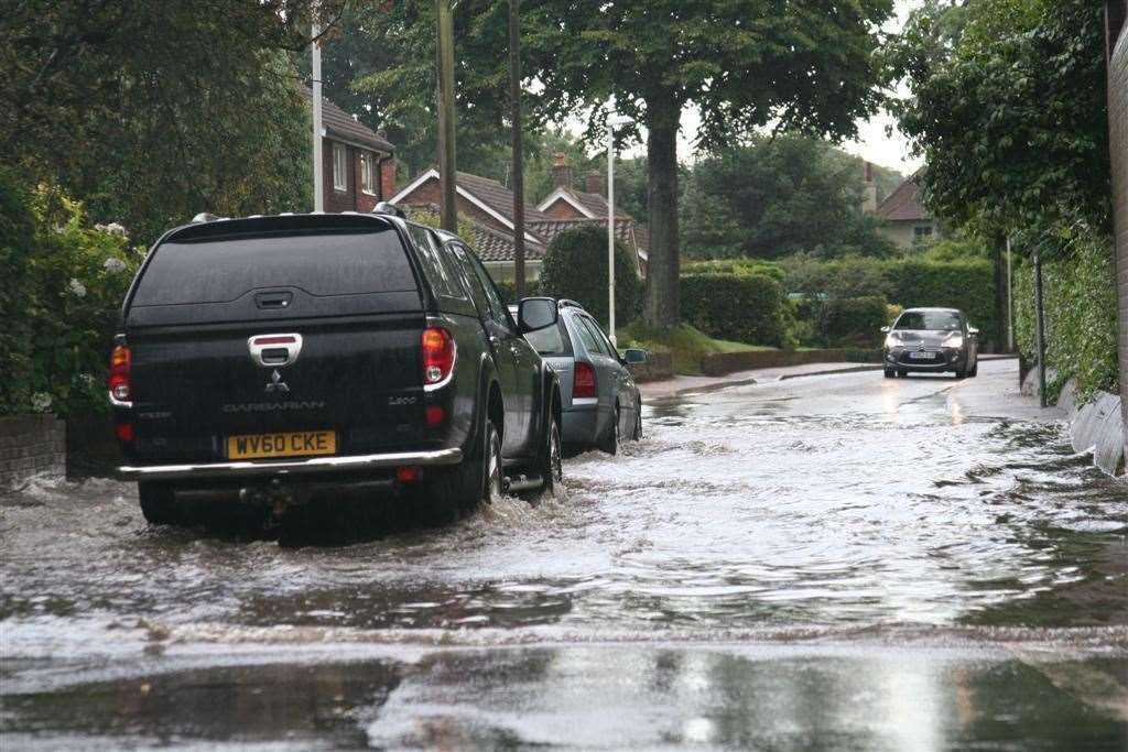 Flooding in St George's Road in Sandwich in 2014 Picture: John Brewin