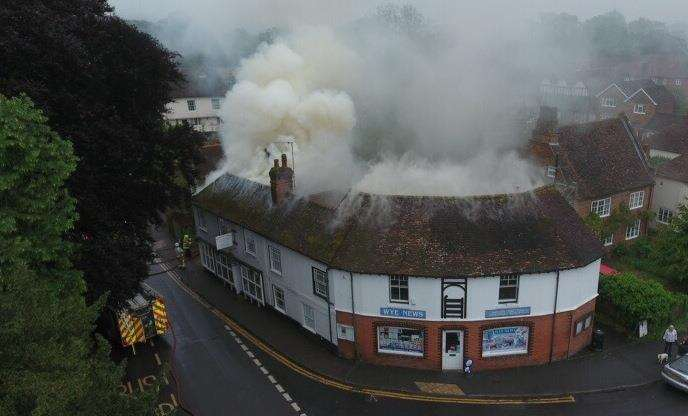 A drone picture of the fire. Picture: Geoff Jones