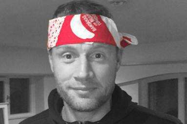 Freddie Flintoff brandishing his bandana for Bandana Day.