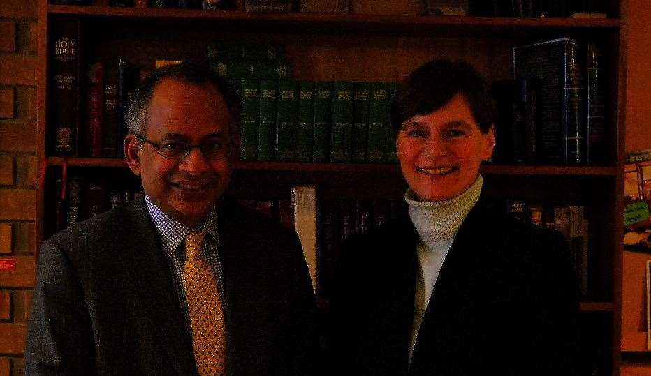 Professors Rama Thirunamachandran and Karen Cox, the vice-chancellors of Canterbury Christ Church and Kent (1234447)