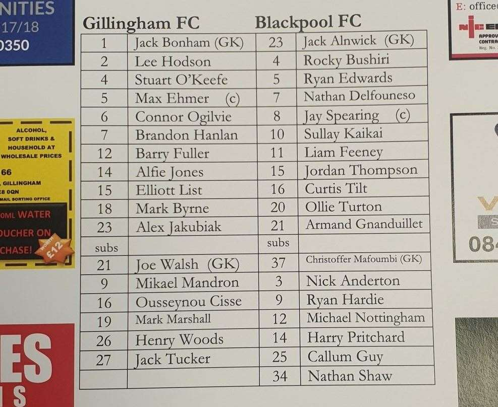 Gillingham teamsheet against Blackpool on Tuesday night Picture: Ady Kerry (15543901)