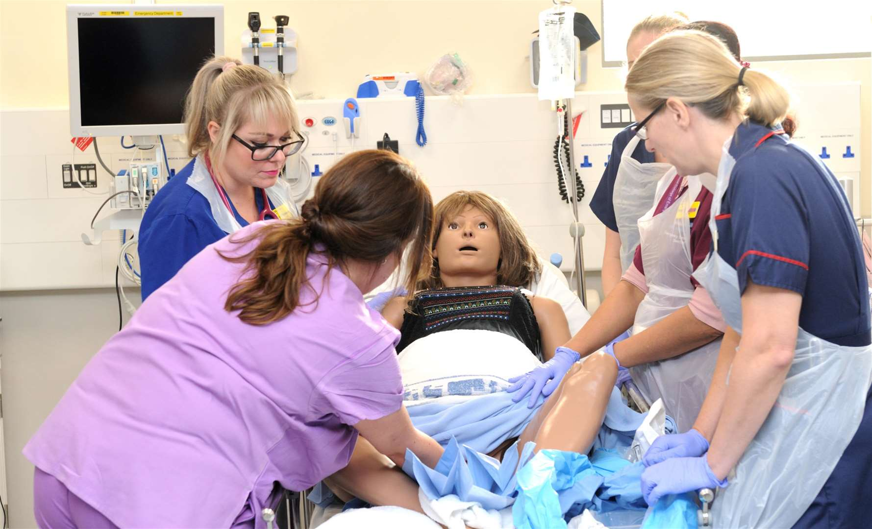 A simulation day at Medway Maritime Hospital sees doctors oversee a birth