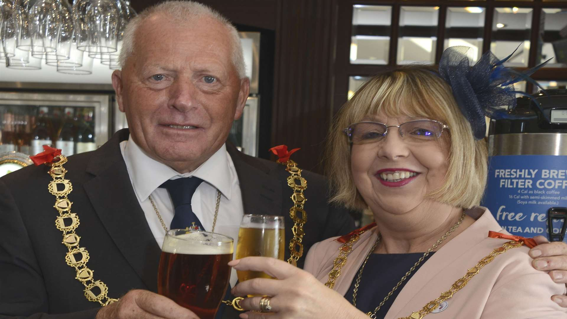 Mayor Cllr Trevor Shonk and Mayoress Mandy Shonk enjoy a drink in the new bar Picture: Paul Amos