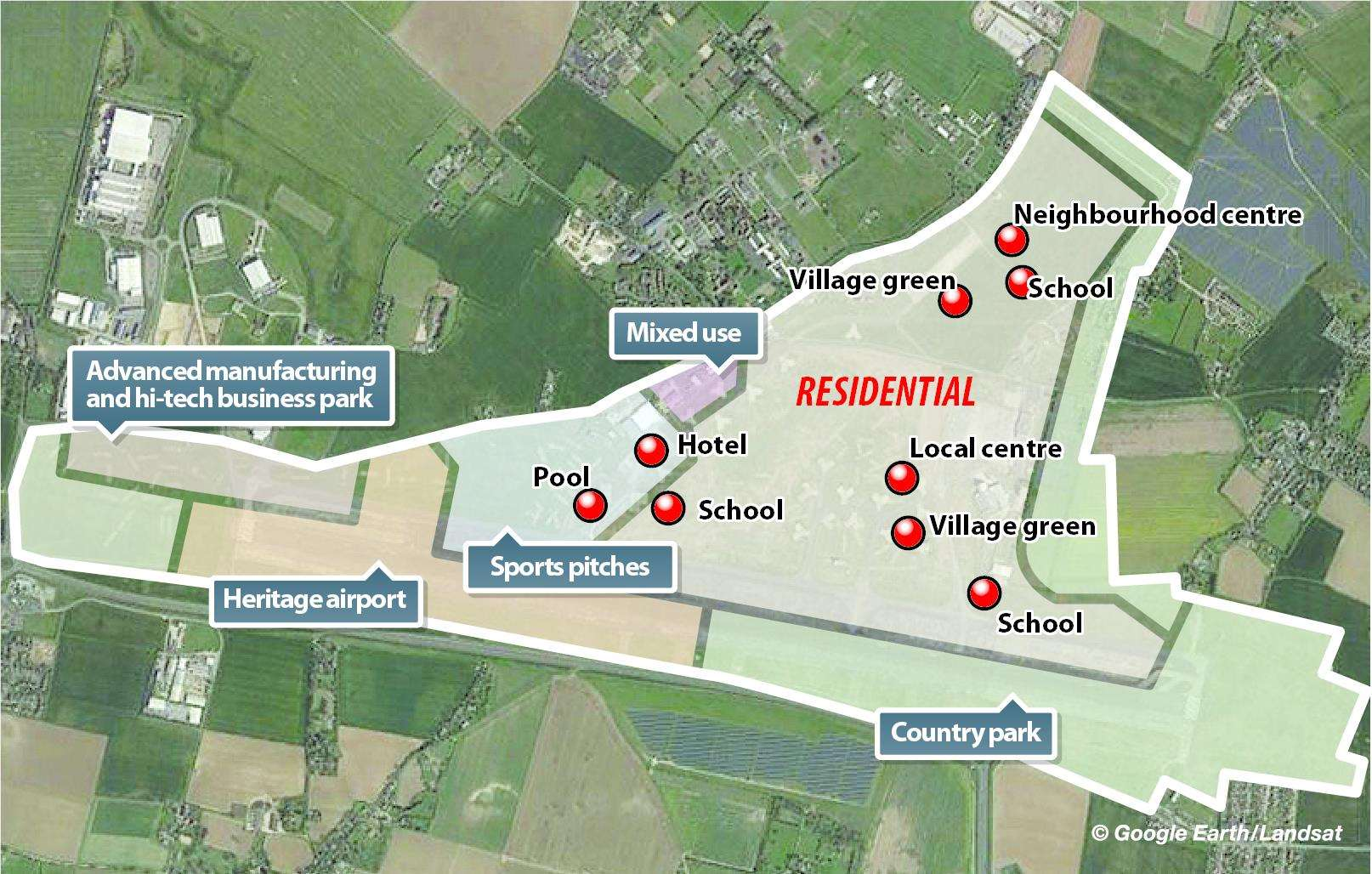 The layout of Stone Hill's mixed use residential, business and leisure development at Manston