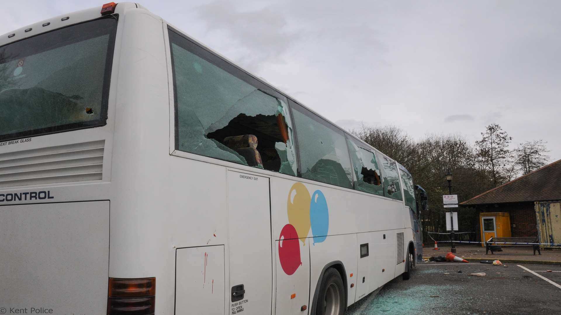 The coach damaged after violence took hold at Maidstone Services off the M20