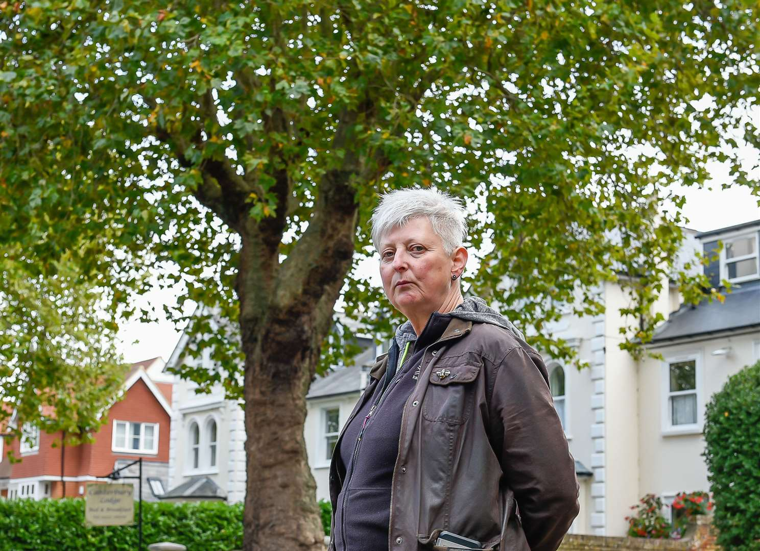 Helen Applegarth with 130-year-old plane tree she is trying to save from being axed by KCC in London Road, Canterbury