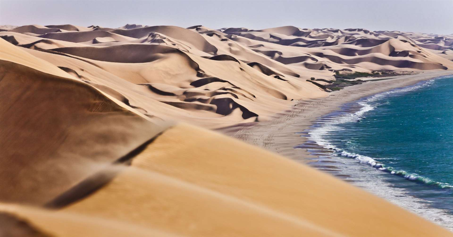 The world's oldest desert, the Namib Desert has existed for at least 55 million years, completely devoid of surface water but bisected by several dry riverbeds.