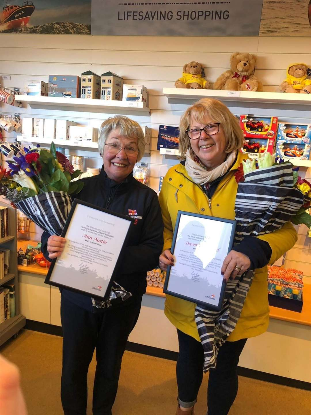 Dawn Whitbread and Ann Austin were presented with the RNLI's Excellence in Volunteering Awards