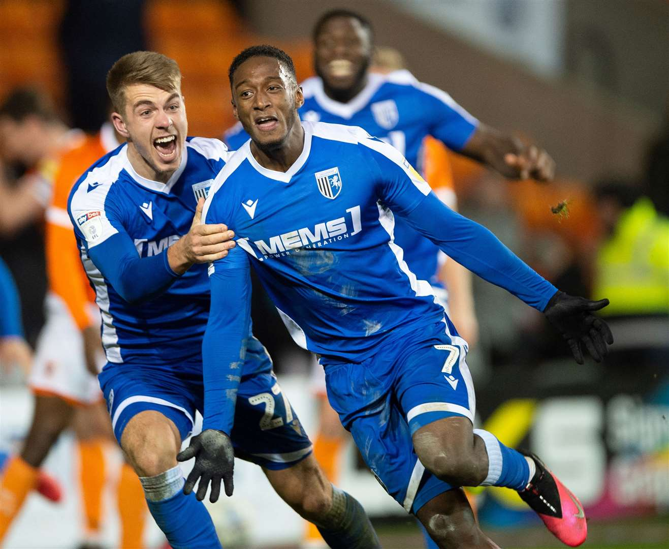 Gillingham striker Brandon Hanlan celebrates scoring a midweek winner at Blackpool Picture: Ady Kerry