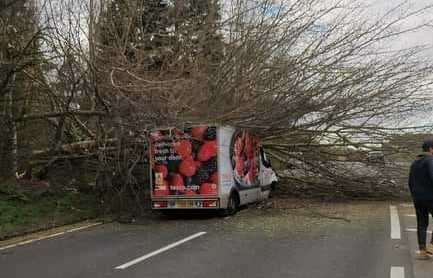 A tree fell on top of a Tesco van on Bluebell Hill near Maidstone. Picture: Jon Middleditch