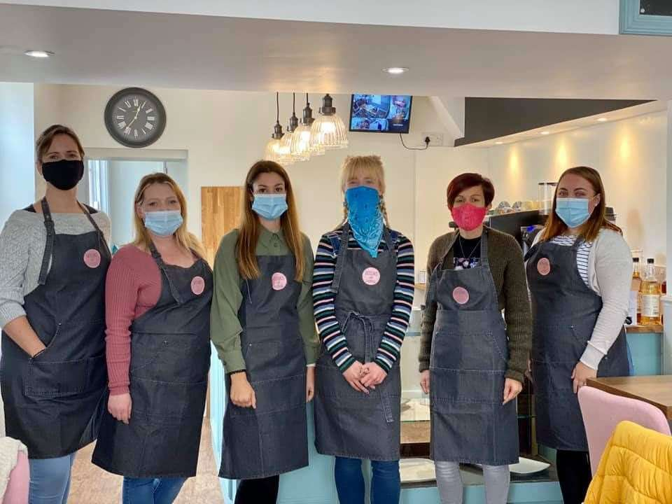 The staff of the new-look Bosuns tea and coffee shop in Queenborough, Sheppey