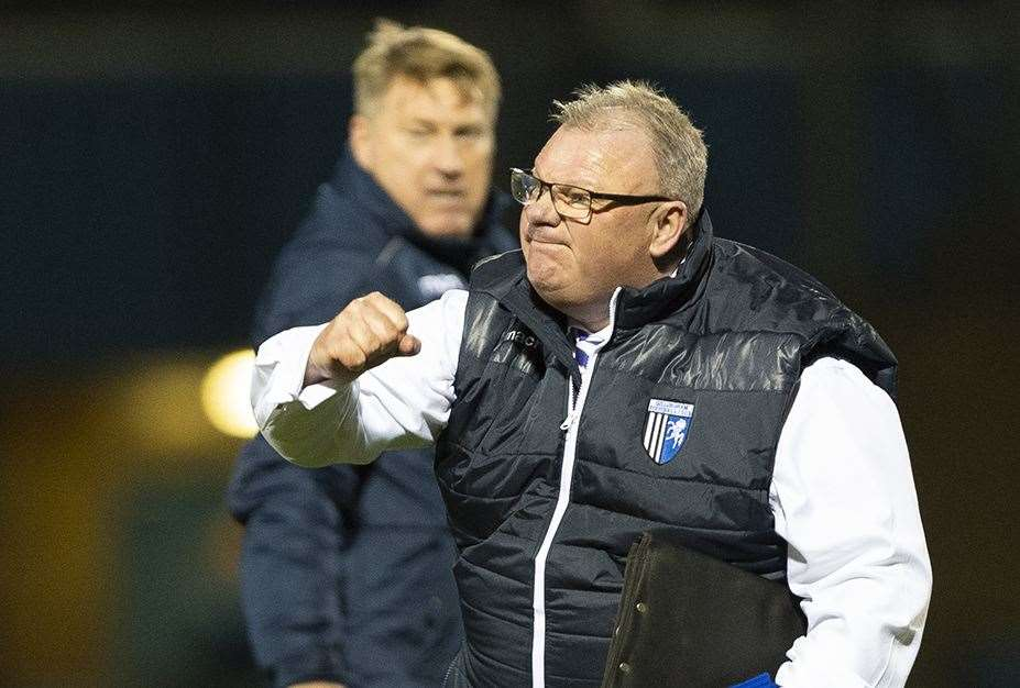 Manager Steve Evans celebrates victory over Sunderland Picture: Ady Kerry (23647435)