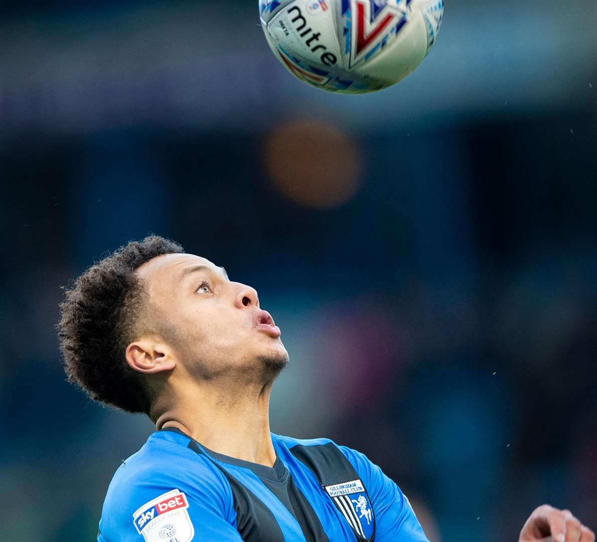 Gillingham forward Elliott List with his eyes on the ball Picture: Ady Kerry