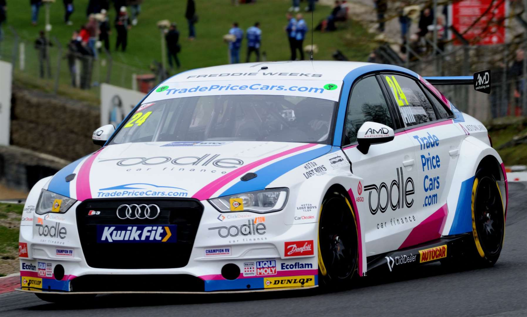 Jake Hill behind the wheel of his Audi during testing Picture: Simon Hildrew