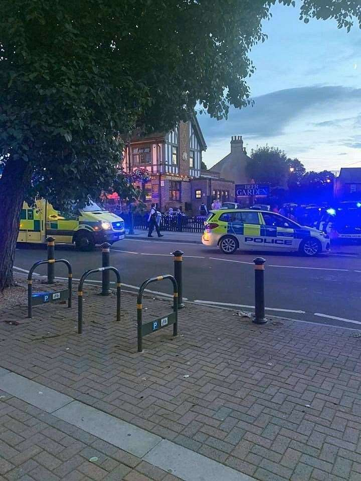 Emergency services at the scene of the incident in Chislehurst last night. Picture: @Kent_999s