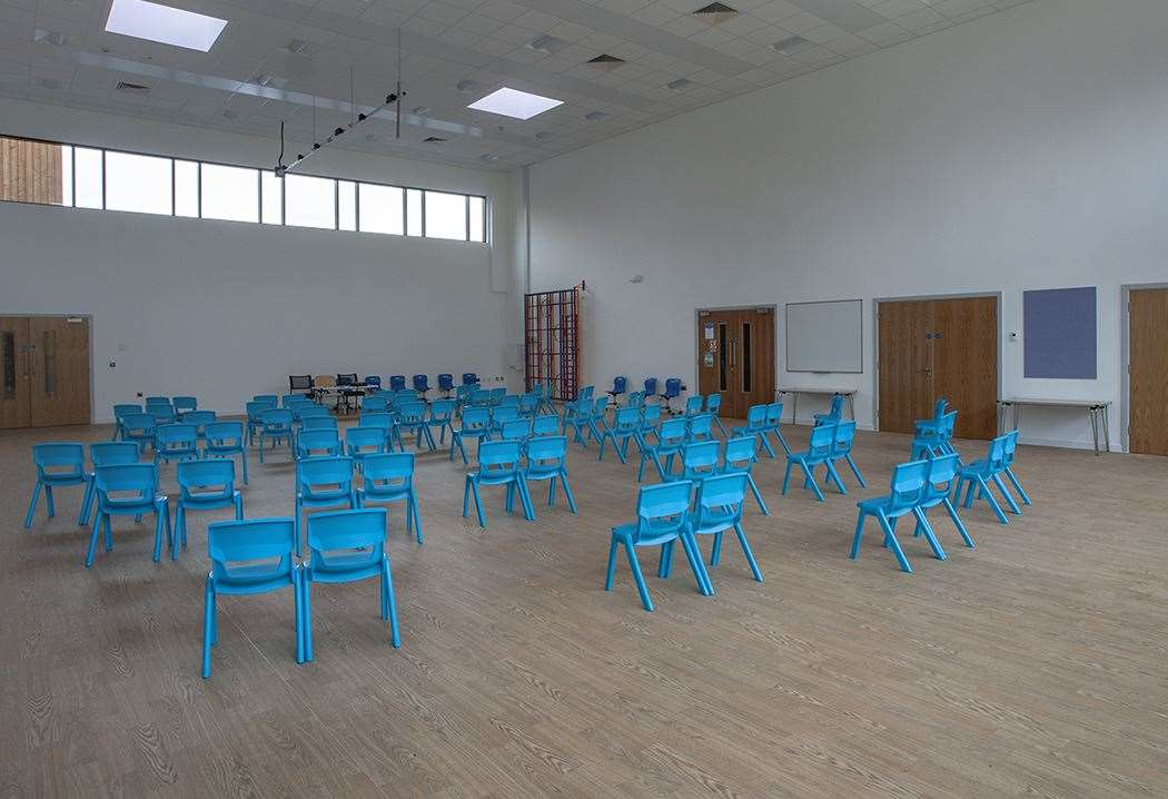 Social distancing measures have been put in place for assemblies at Springhead Primary School near Ebbsfleet Garden City