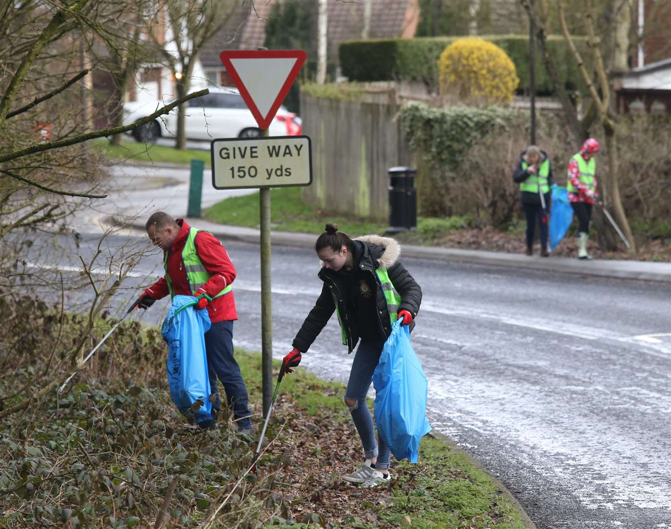 Volunteers pick up litter along a road in Walderslade during last year's campaign