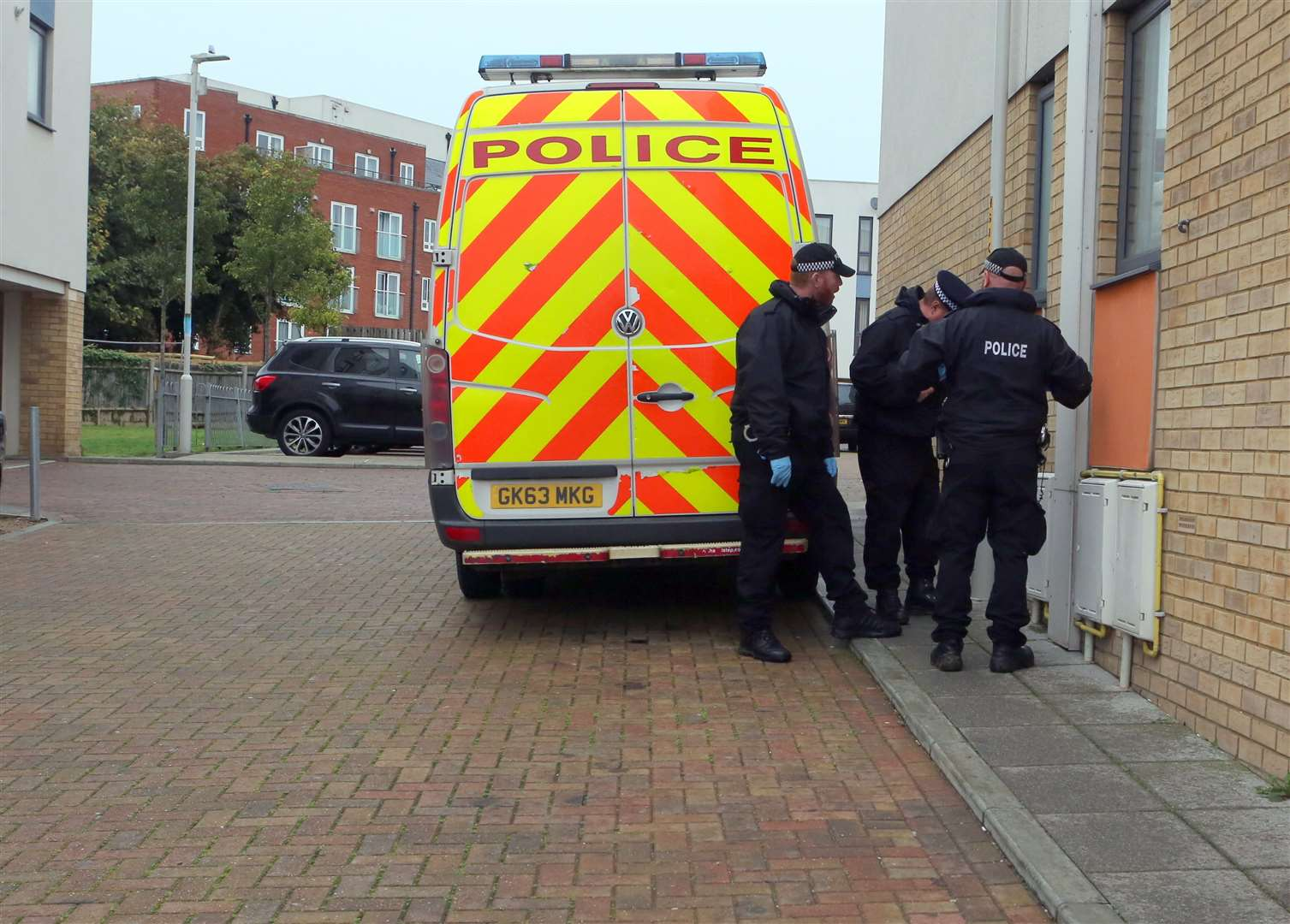 Police at the scene of a suspected murder in Sandhurst Place, Margate. Picture: UKNIP