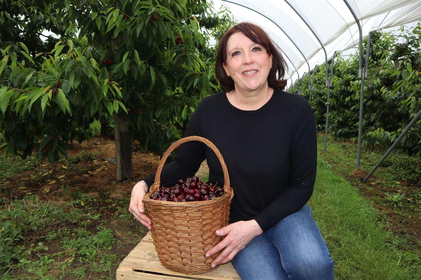Sarah Neaves, cherry grower from Sittingbourne, at Little Sharsted Farm.  Photo: John Nurden