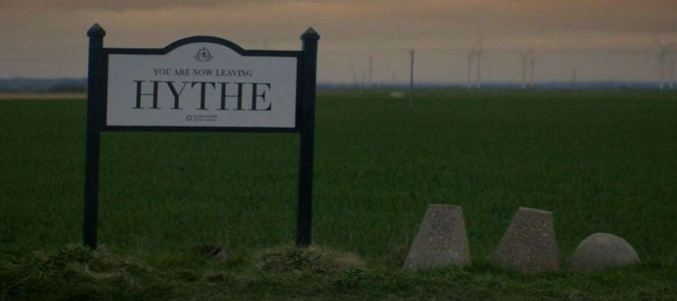 You are now leaving Hythe.  Photo: BBC iPlayer