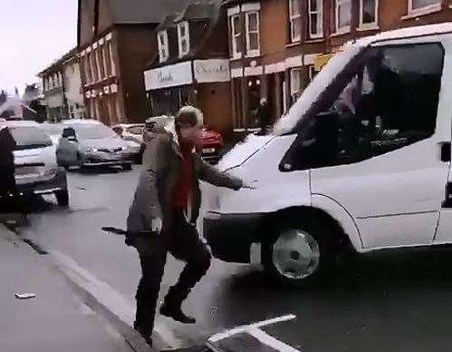 The video shows a white van appearing to attack pedestrians