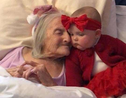 Edith Brittain with her great-great-granddaughter Cali-Sian Edie Lee