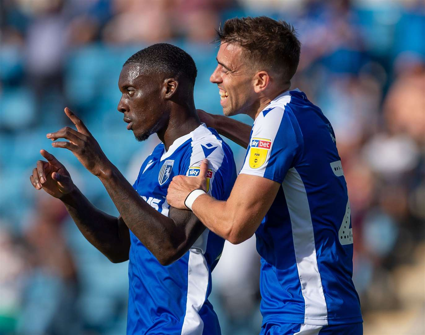 Mikael Ndjoli celebrates his opening goal for Gillingham Picture: Ady Kerry