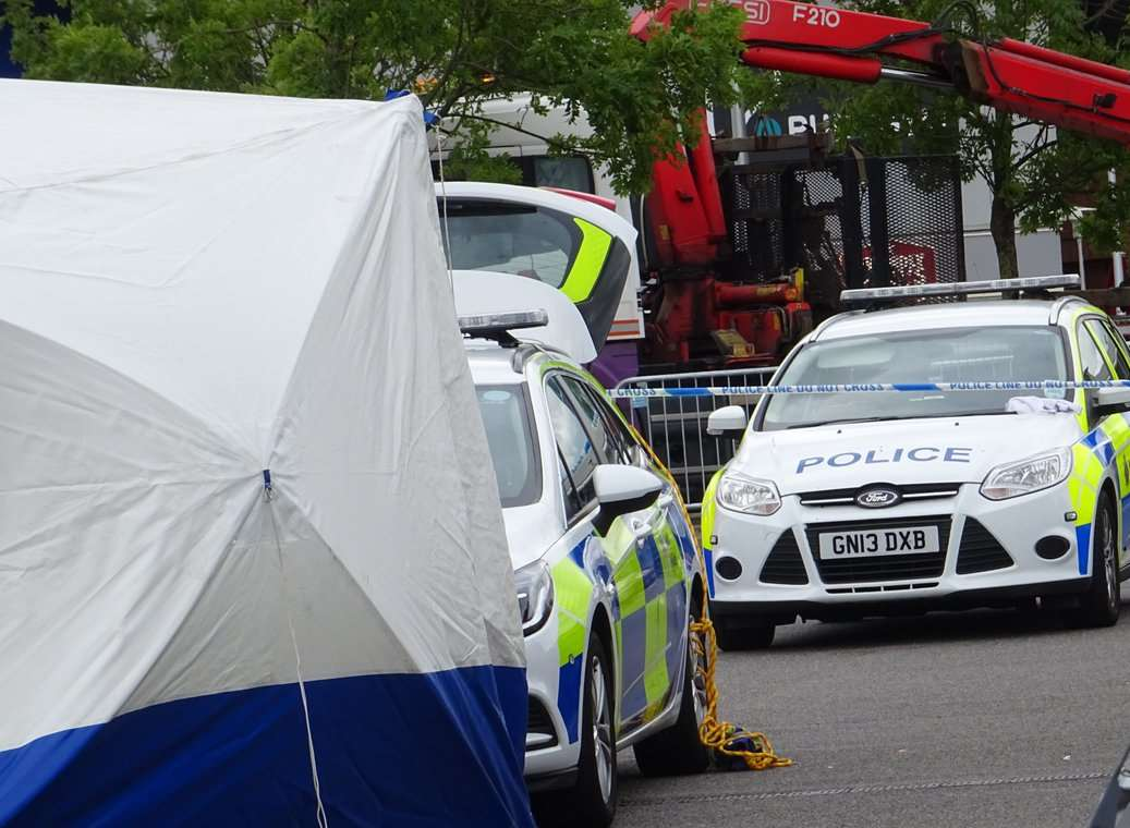 Several police cars attended the scene of the alleged murder. Picture: Tom Smy (@EastKent999vids)