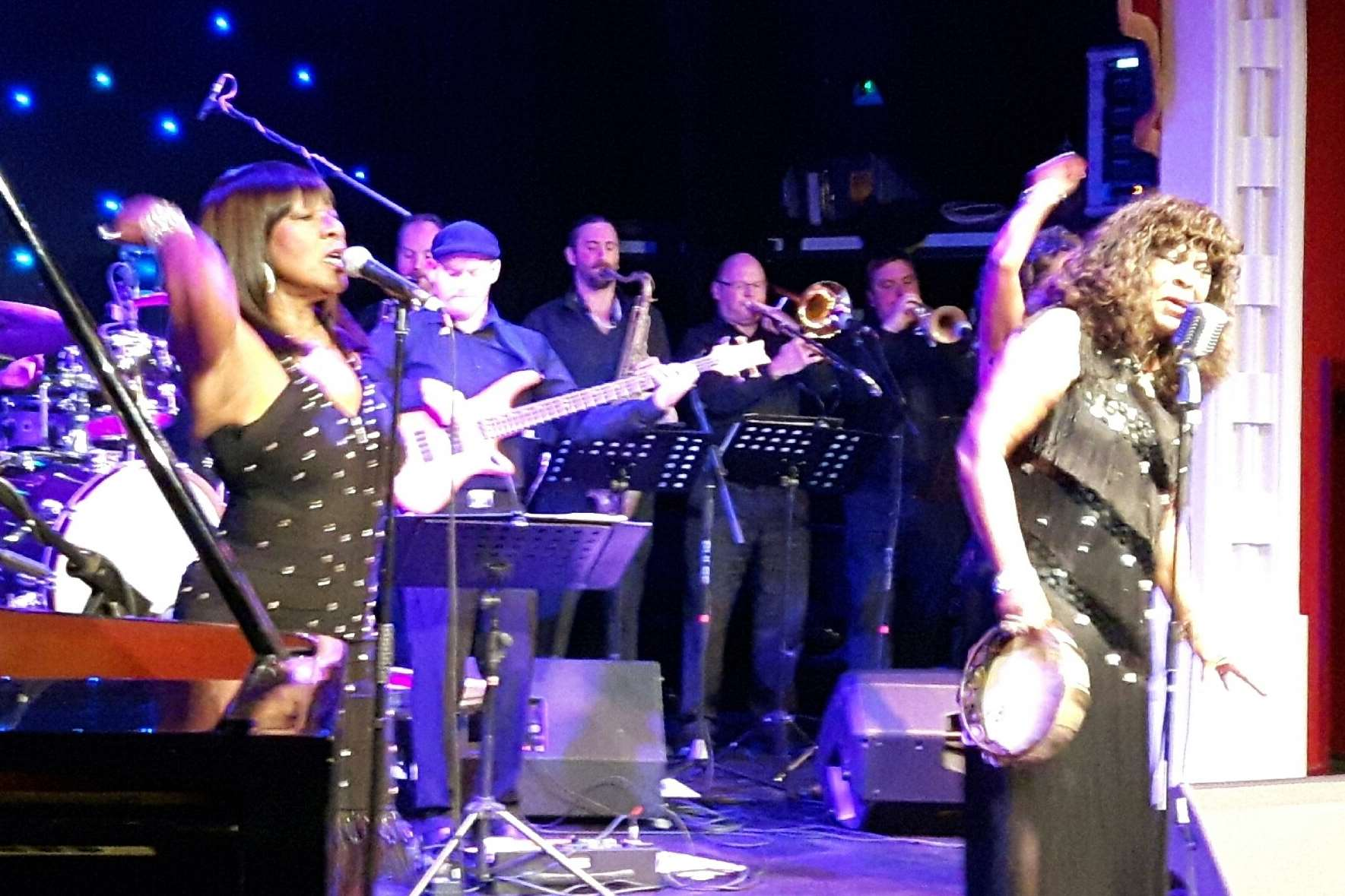 Martha Reeves, right, onstage at the Astor theatre with sister Lois