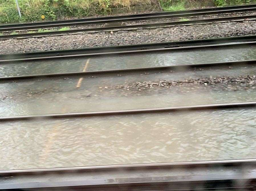 Flooding near Orpington station. Picture: Cam Andrews