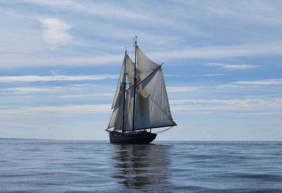 The ship is powered by wind and has a crew of 12 people. Photo by Blue Schooner Company