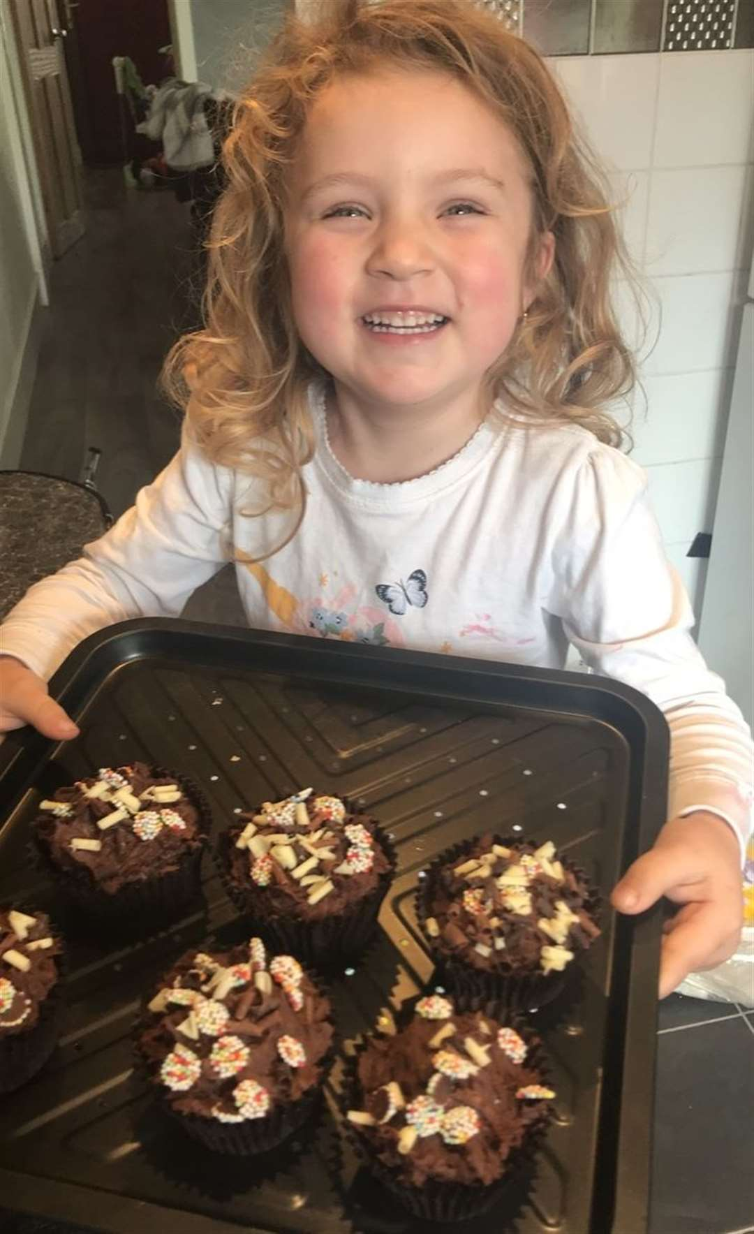 Lillia Halls made cakes for her grandad to leave on his doorstep for his birthday