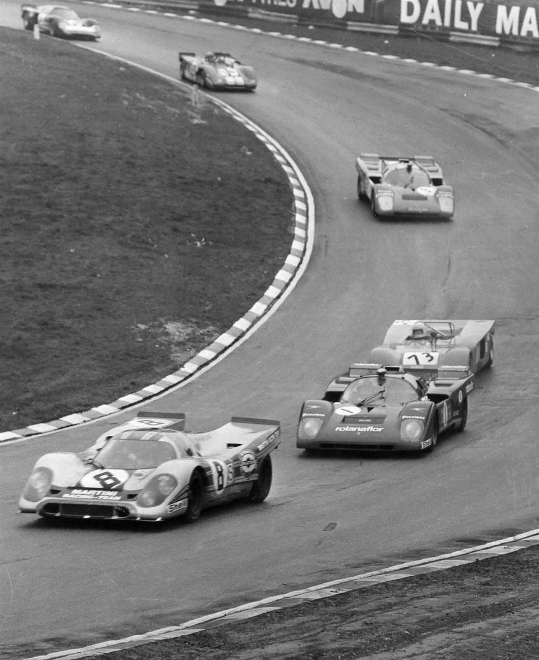 Sportscar action on the fearsome 2.4-mile Brands Hatch Grand Prix circuit in 1971