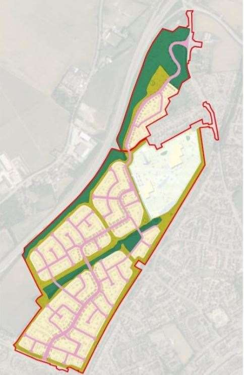 Plan showing where the 1,200 new homes will be built at Kemsley