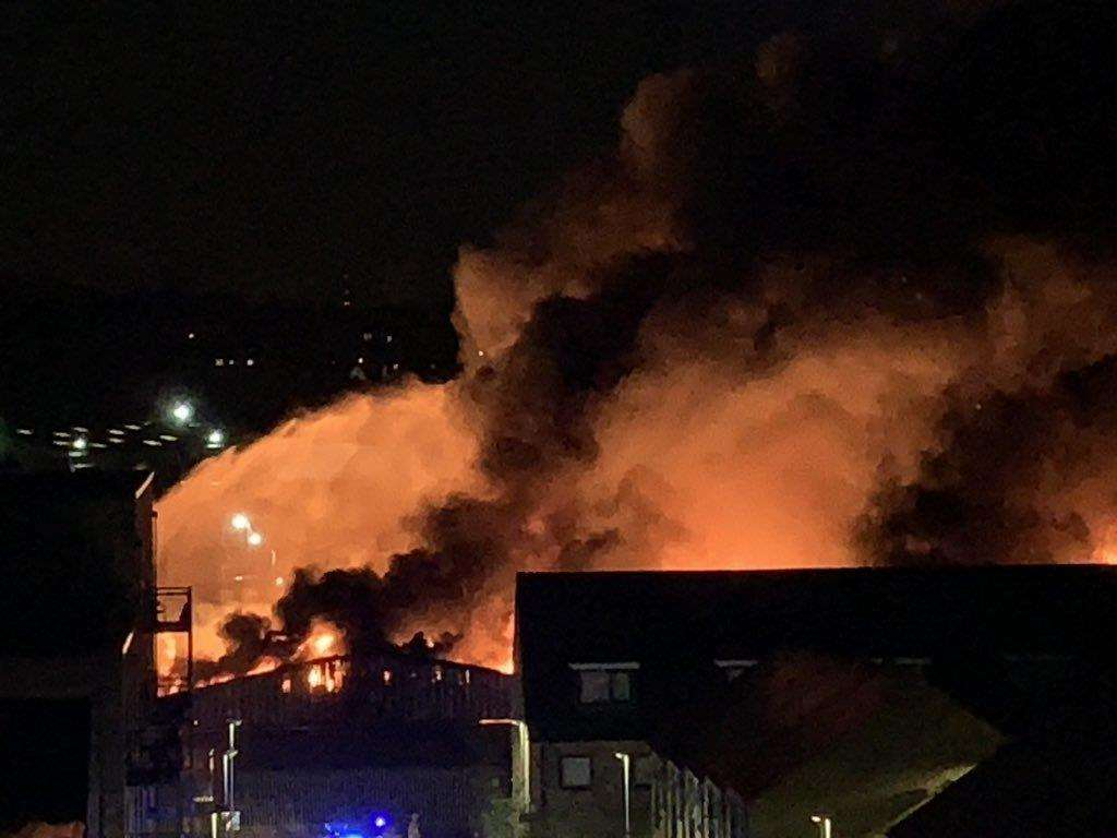 The warehouse fire on Riverside Industrial Estate in Dartford. Picture: @chrispiela
