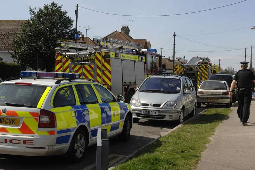 Emergency services at the scene of the collapse in Bridgefield Road
