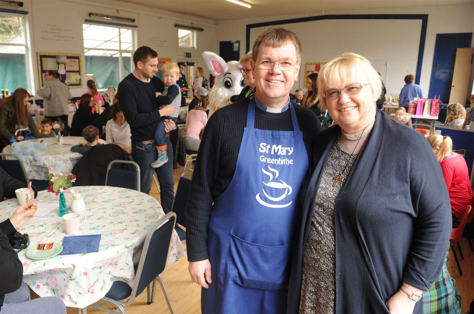 The Revs Andrew and Carol Avery at last year's Easter fun day at the Community Cafe in Greenhithe