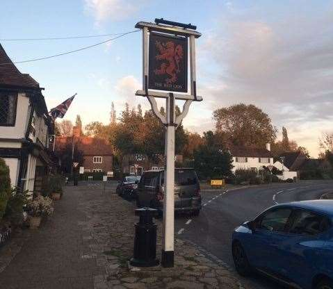 As traditional as the rest of the place, the pub sign stands proud to welcome new visitors – sadly the welcome isn't quite as good when you get inside