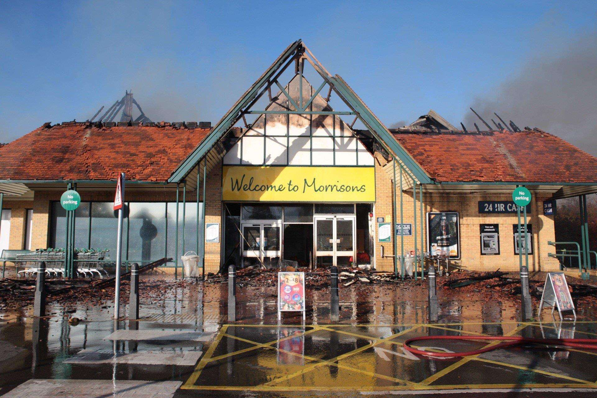 The Morrisons supermarket once the blaze had been put out. Picture: Kent Fire and Rescue