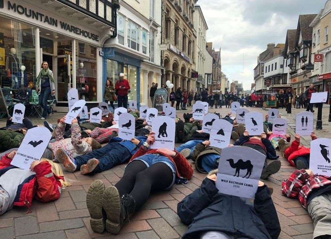 Dozens of young people lay down as part of the protest. Picture: Clare Connerton (8507618)
