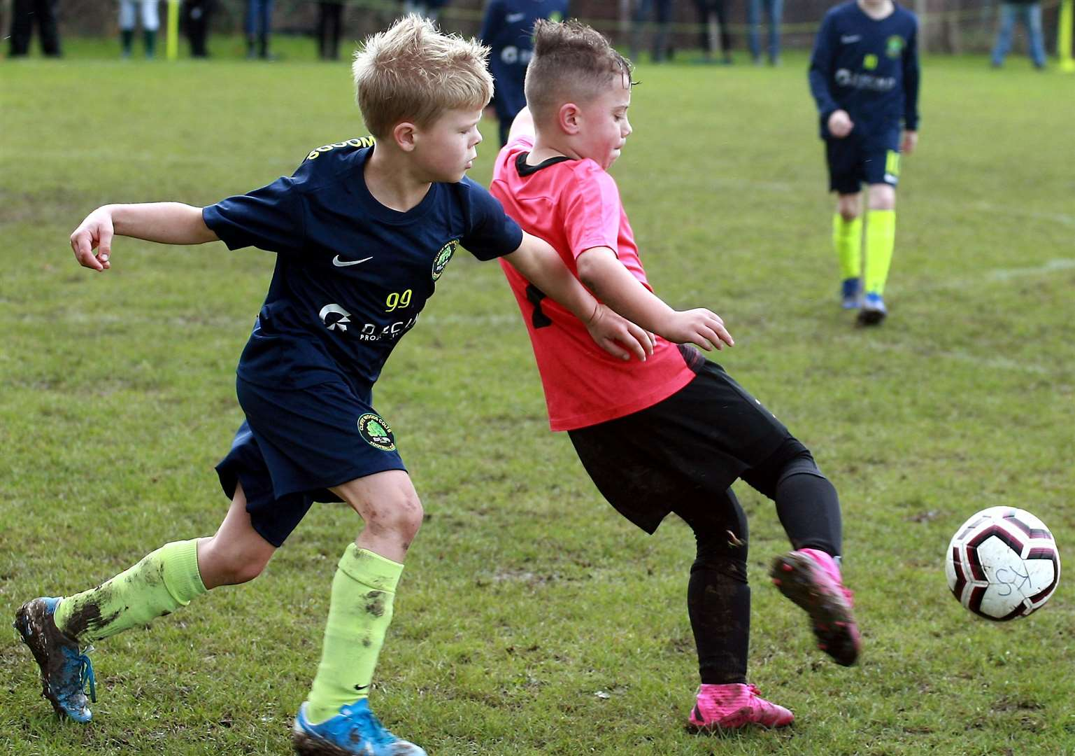 Sheerness East Youth under-9s get to the ball ahead of Cliffe Woods Colts under-9s. Picture: Phil Lee FM18684378