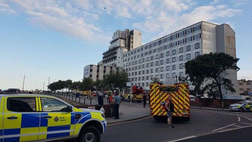 Emergency services outside the Grand Burstin in Folkestone on Saturday evening