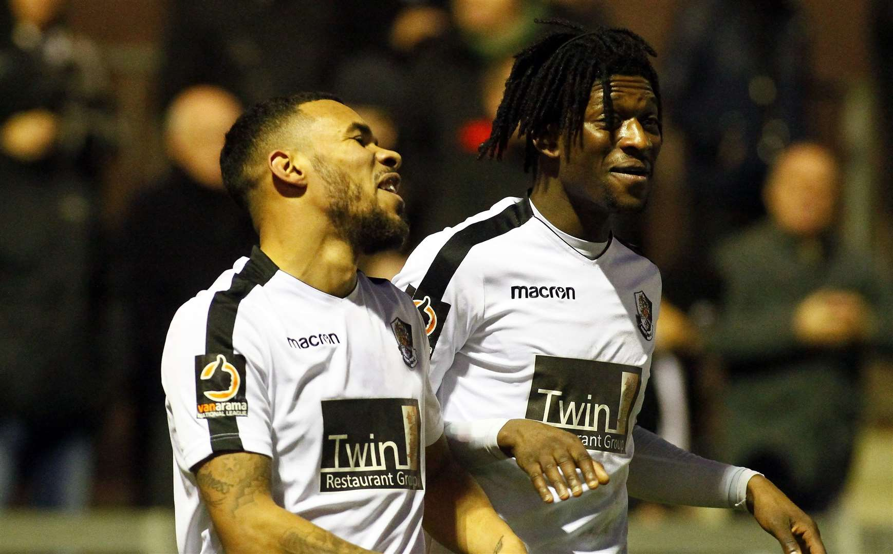 Phil Roberts celebrates his winner against St Albans with Andre Coker Picture: Sean Aidan