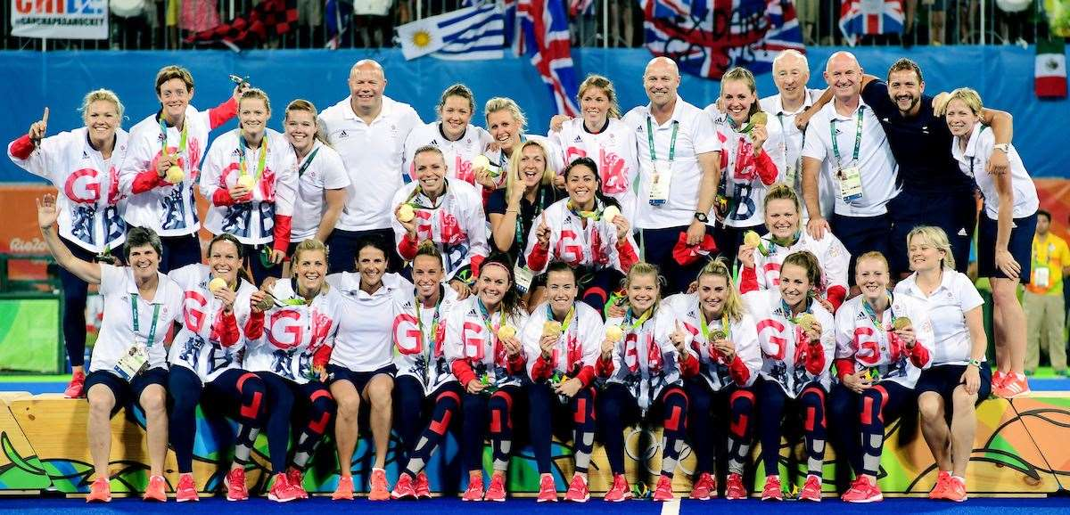 Great Britain's women's hockey team celebrate winning gold at the 2016 Rio Olympics. Picture: Frank Uijlenbroek