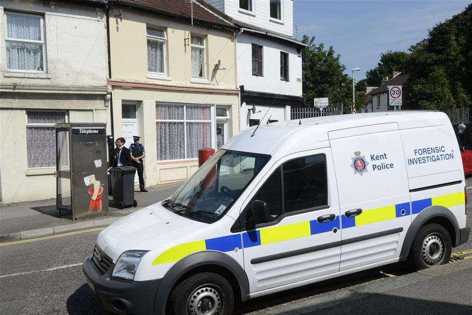 A forensics van outside the property in Tower Hamlets, Dover