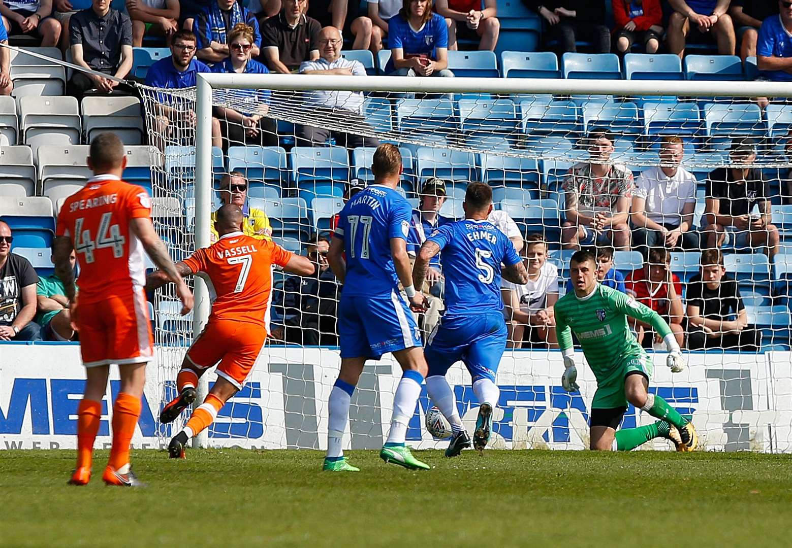 Blackpool take the lead at Priestfield Picture: Andy Jones